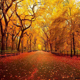 Fox Autumn Avenue Yellow Leaves Vinyl Photos Backdrop-Foxbackdrop