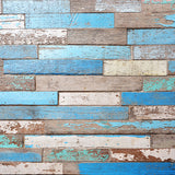 Load image into Gallery viewer, Fox Retro Blue Damaged Wooden Vinyl Backdrop-Foxbackdrop