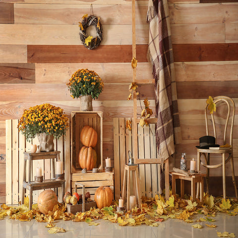 Fox Rolled Wood Thanksgiving Vinyl Photography Backdrop