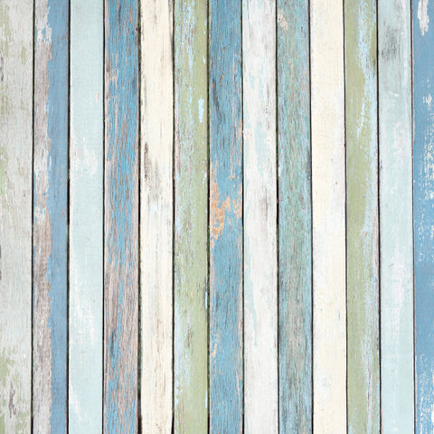 Fox Blue Faded Wood Vinyl Backdrop for Newborn