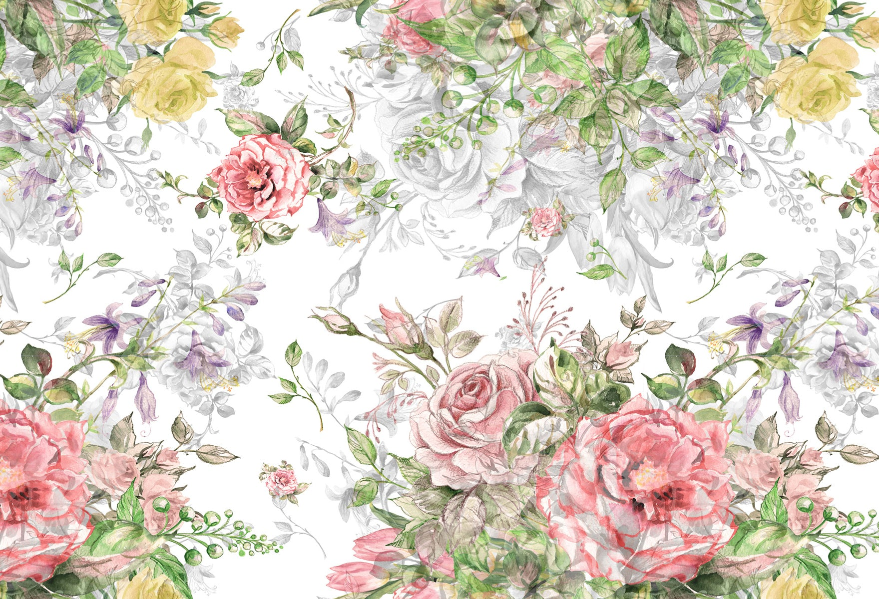 Fox Bright Flowers White Background Vinyl Backdrop-Foxbackdrop