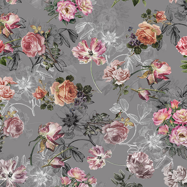 Fox Grey Background Light Pink Flowers Vinyl Backdrop-Foxbackdrop