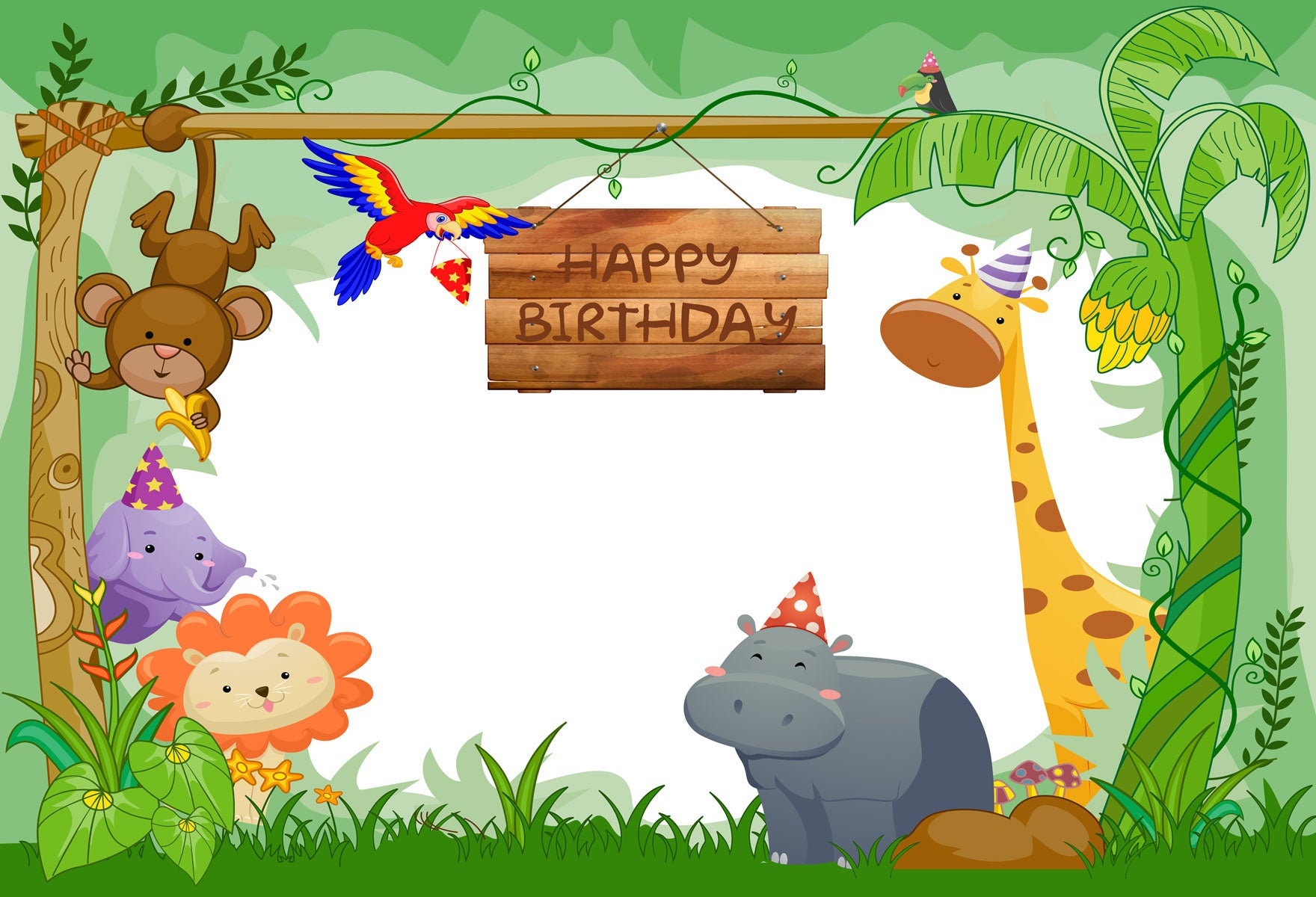 Fox Jungle Animal Children Birthday Party Vinyl Photo Backdrop-Foxbackdrop