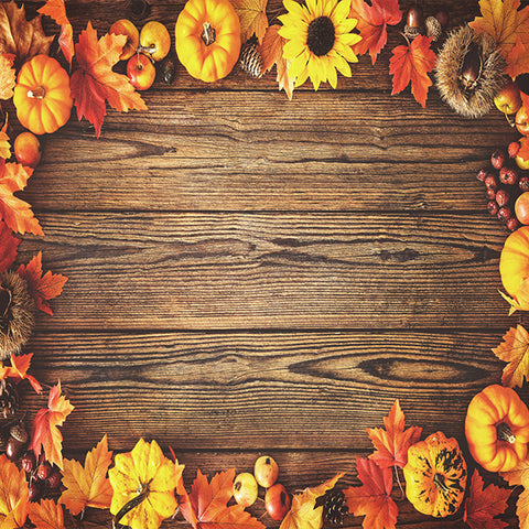 Fox Rolled Wood Thanksgiving Vinyl Photos Backdroop