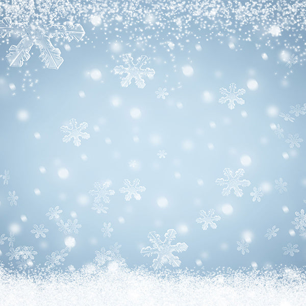 Fox Rolled Winter Snow Drops Silver Vinyl Backdrops