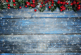 Fox Wood Christmas Tree Retro Vinyl Photo Backdrop-Foxbackdrop