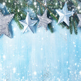 Fox Christmas Silver Stars Vinyl Photos Backdrop-Foxbackdrop