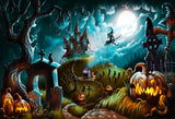 Fox Halloween Night Moon Children Vinyl Photos Backdrop-Foxbackdrop