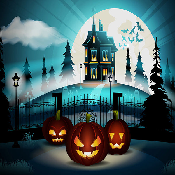 Fox Halloween Night Jack-O-lantern Vinyl Photos Backdrop-Foxbackdrop