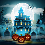 Fox Halloween Ghost Castle Vinyl Photos Backdrop-Foxbackdrop