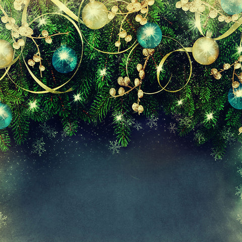 Fox Green Christmas Party Vinyl Photo Backdrop