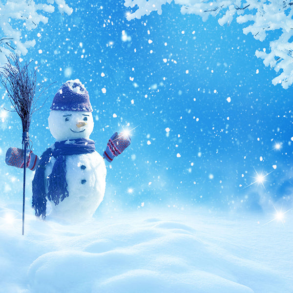 Fox Winter Snowman Snow Children Photo Vinyl Backdrop-Foxbackdrop