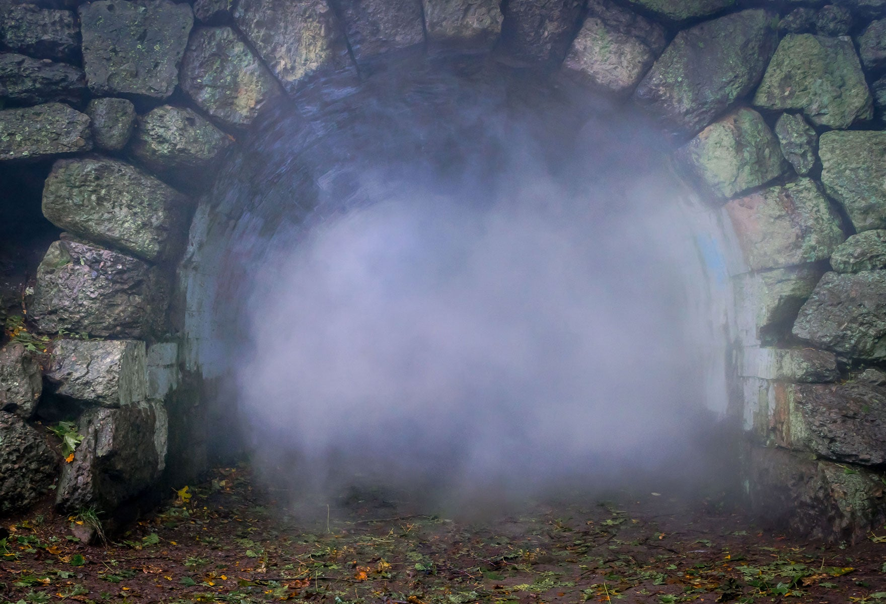 Fox Stone Cave Smoke Vinyl Photos Backdrop-Foxbackdrop