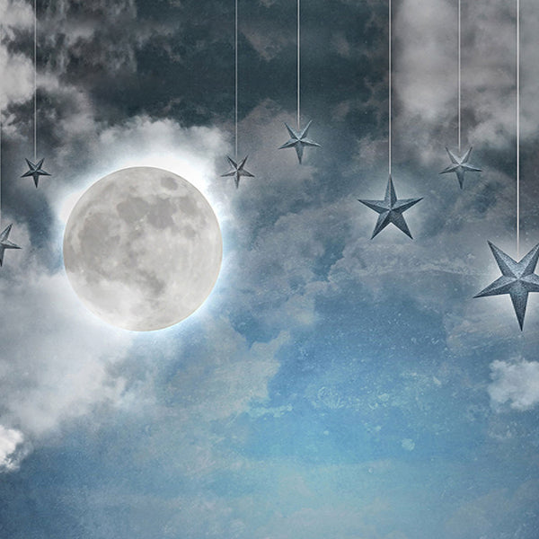 Fox Night Moon Stars Children Vinyl Photography Backdrop-Foxbackdrop