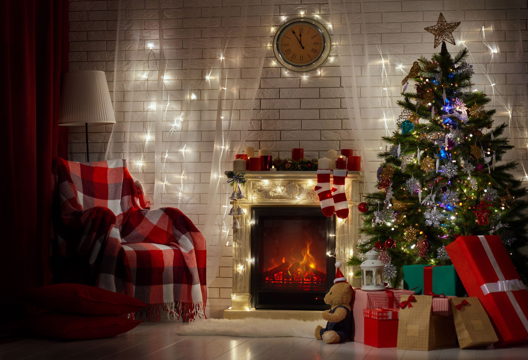 Fox Christmas Tree Fireplace Vinyl Photo Backdrops