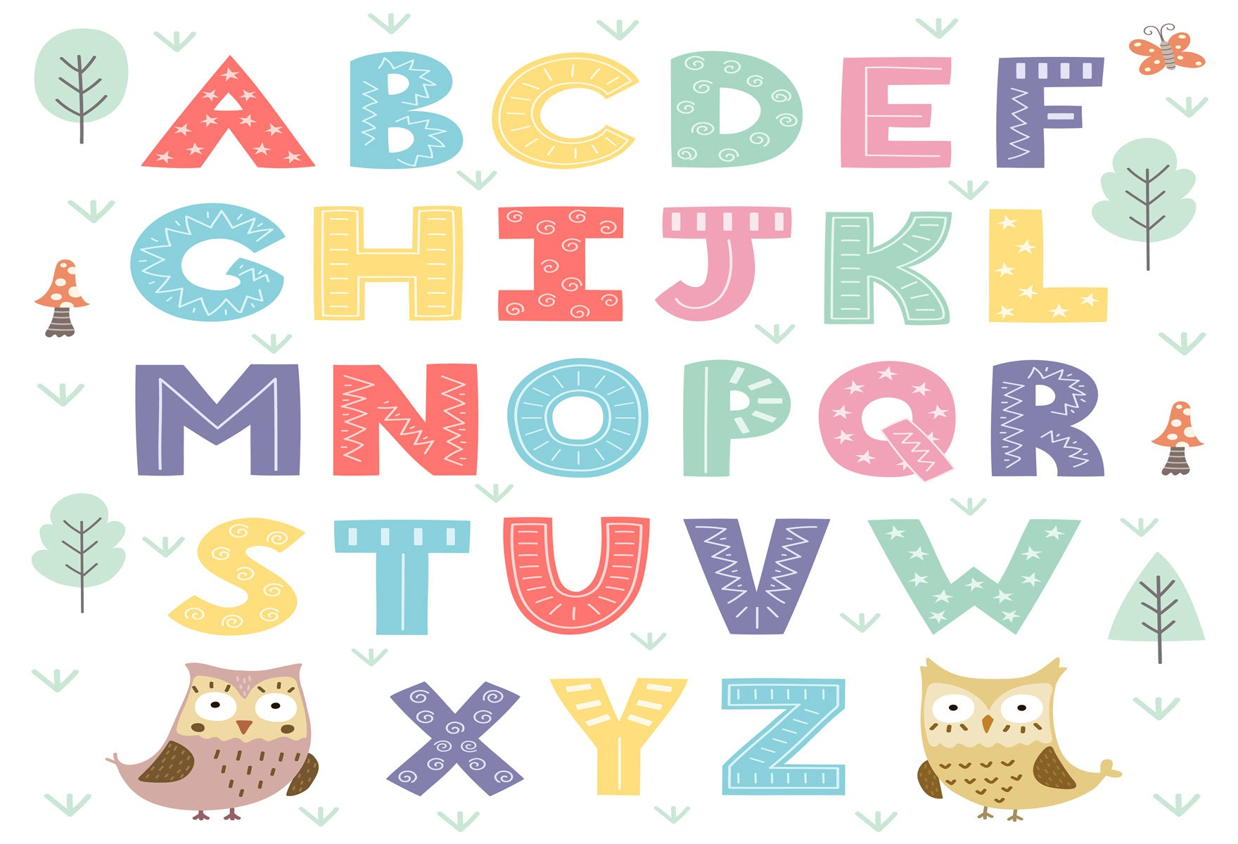 Fox Cartoon English Alphabet Children Vinyl Backdrop-Foxbackdrop
