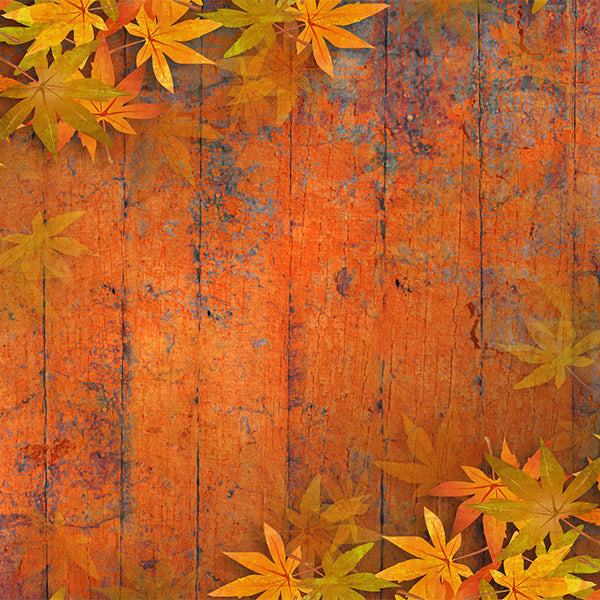 Fox Autumn Orange Leaves Vinyl Photos Backdrop