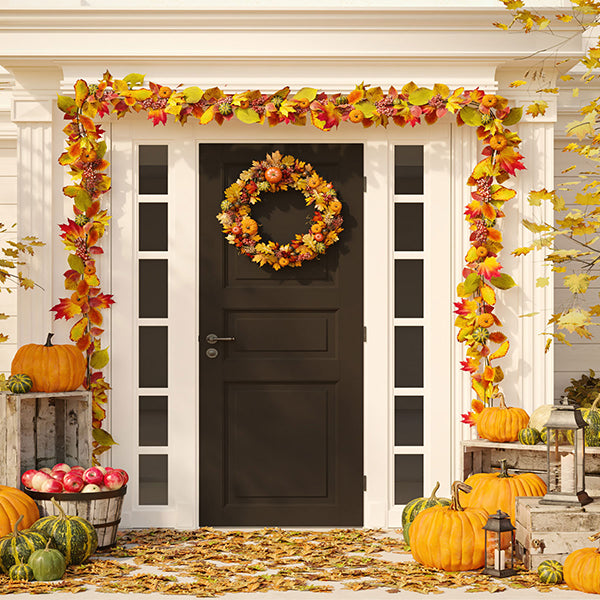 Fox Rolled Thanksgiving Day Front Door Vinyl Backdrops