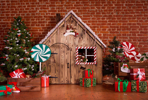 Hot Sale Fox Christmas Cabin Rolled Vinyl Photos Backdrops