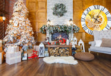 Fox Wood Christmas Rolled Vinyl Photos Backdrop