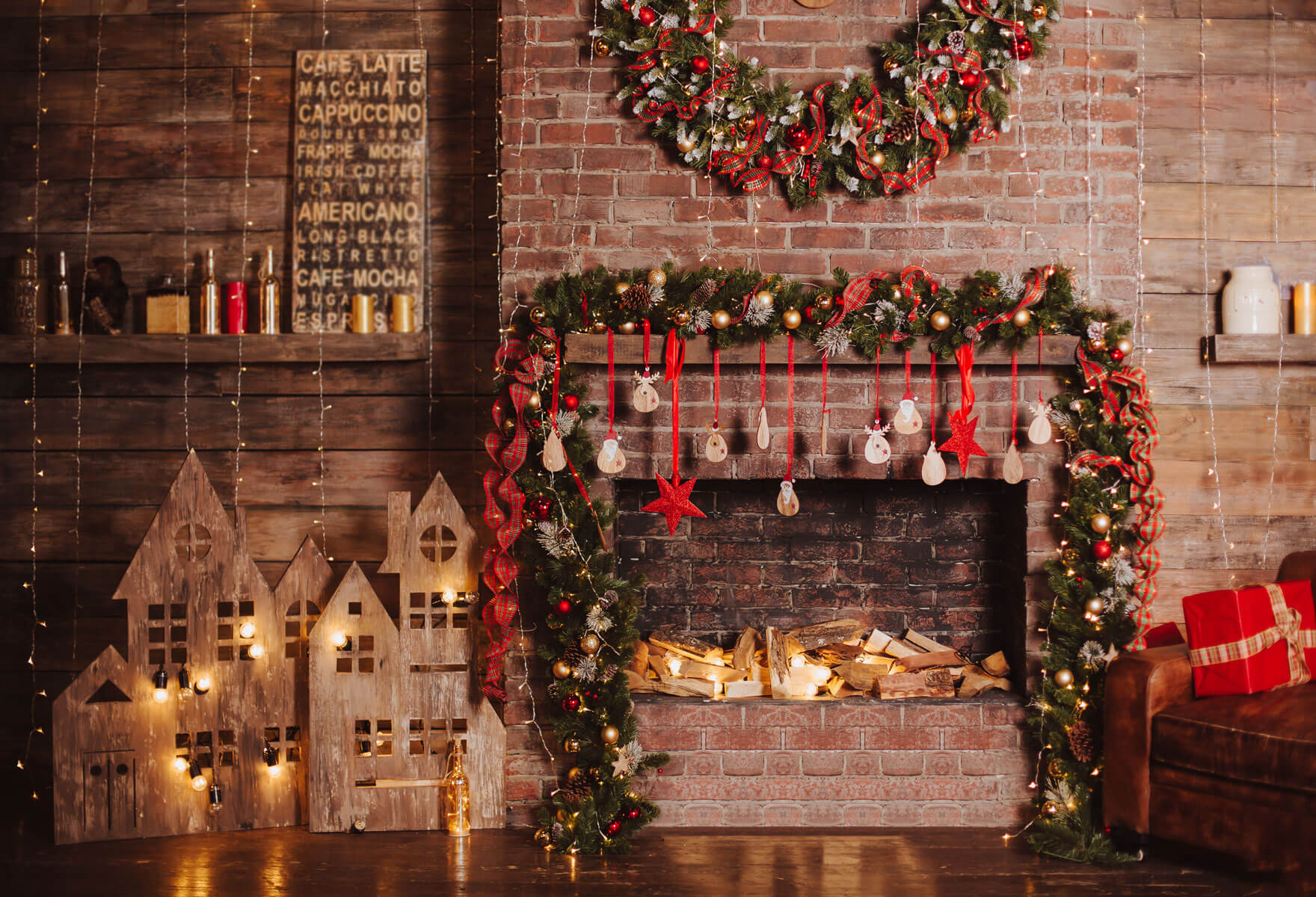 Fox Rolled Christmas Party Thick Vinyl Backdrops-Foxbackdrop