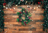 Fox Rolled Wood Christmas Party Vinyl Backdrops