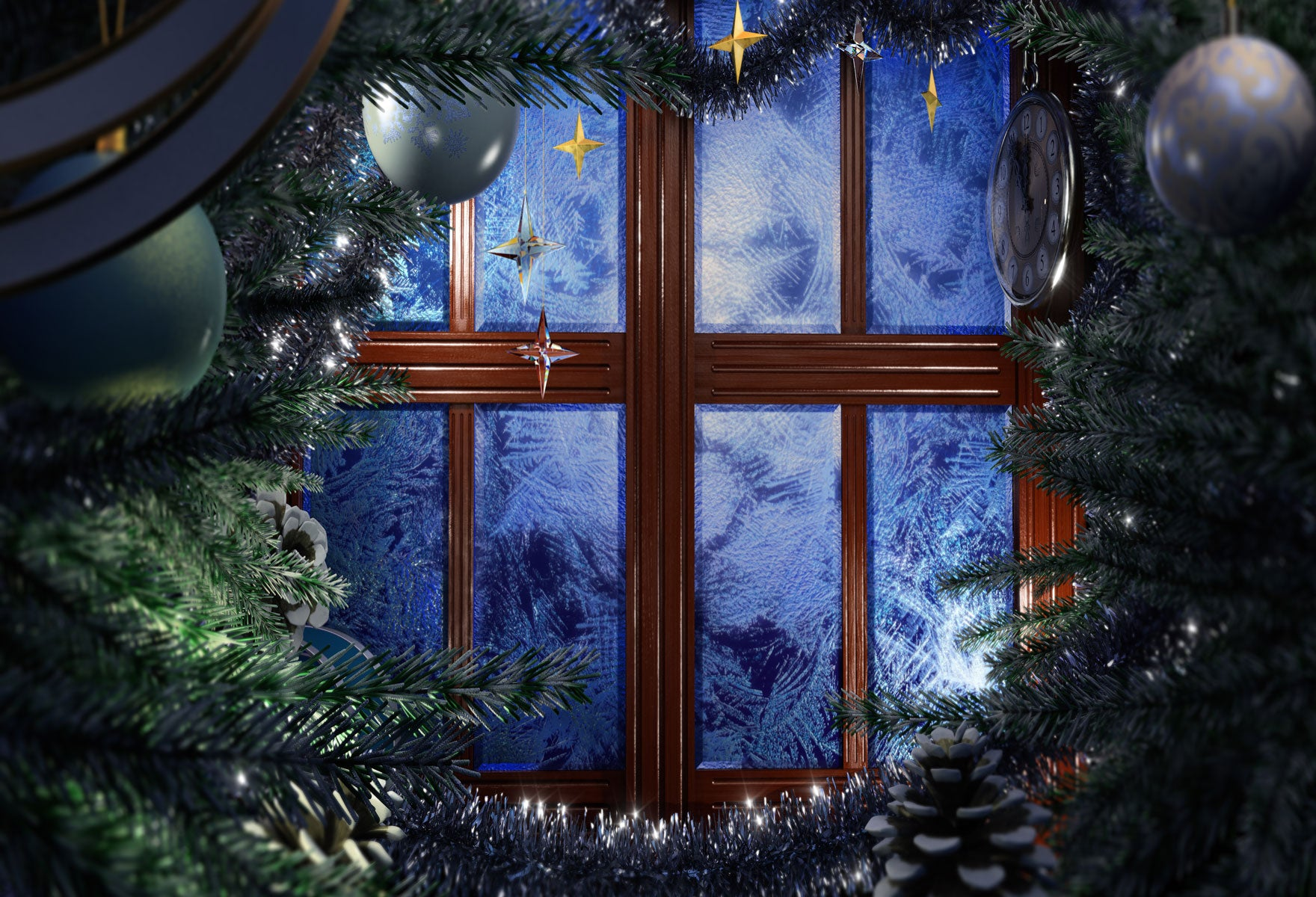 Fox Christmas Window Rolled Thick Vinyl Backdrop-Foxbackdrop
