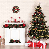 Fox Rolled Christmas Trees Vinyl Photos Backdrop