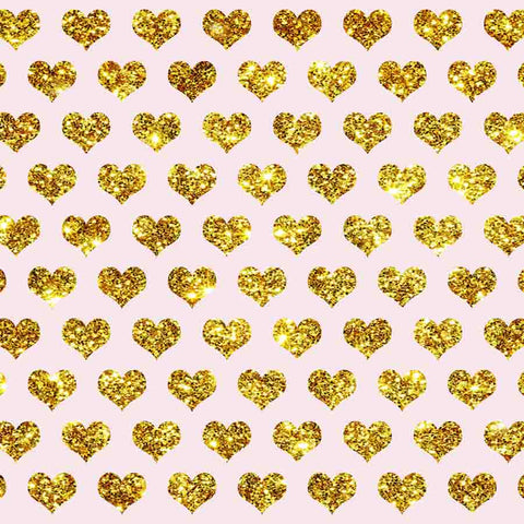 Fox Rolled Golden Heart Shape Vinyl Valentine's Day Backdrop