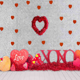 Fox Rolled Vinyl Red Love Valentine's Day Backdrop for Photography-Foxbackdrop