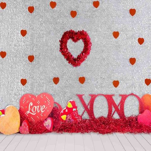 Fox Rolled Vinyl Red Love Valentine's Day Backdrop for Photography