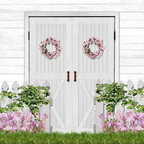 Fox Rolled Easter Spring Door Flowers Vinyl Backdrop