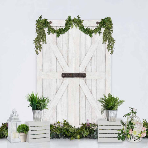 Fox Rolled Vinyl White Wood Spring Easter Photograhy Backdrop