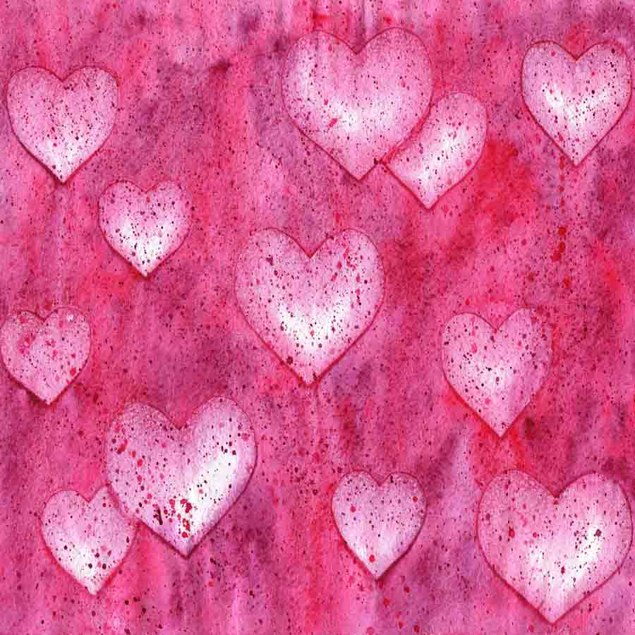 Fox Rolled Pink Heart Valentine Day Vinyl Backdrop-Foxbackdrop