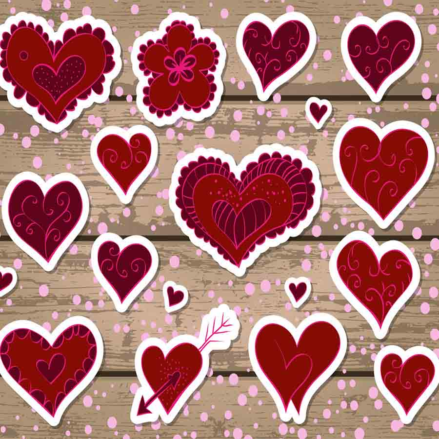 Fox Rolled Vinyl Wood Red Heart Valentine Day Photography Backdrop-Foxbackdrop