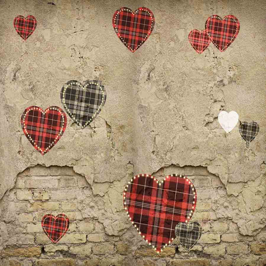 Fox Rolled Vinyl Retro Brick Wall with Heart Valentine Backdrop-Foxbackdrop