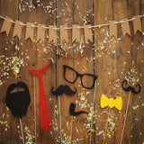 Fox Rolled Father's Day Glasses Beard Wood Vinyl Backdrop-Foxbackdrop