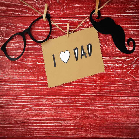 Fox Rolled Father's Day Glasses Beard Red Wood Vinyl Backdrop