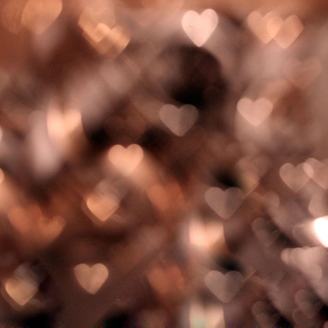 Fox Rolled Bokeh Brown Heart-Shaped Glitter Vinyl Backdrop