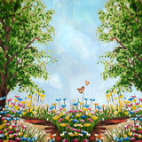 Load image into Gallery viewer, Fox Dreamy Flowers Trees Children Vinyl Photo Backdrop-Foxbackdrop