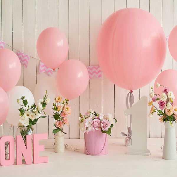 Fox Rolled Pink Balloons Girl Birthday Vinyl Photo Backdrop-Foxbackdrop