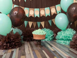 Fox Rolled Balloons Children Birthday Vinyl Backdrop