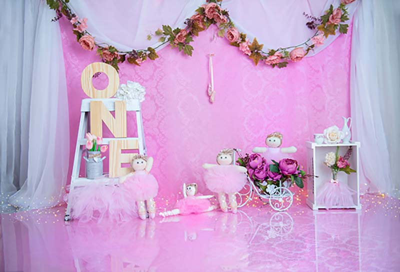 Fox Rolled Pink Girl Birthday Vinyl Backdrop Design by Maria Gabriela-Foxbackdrop