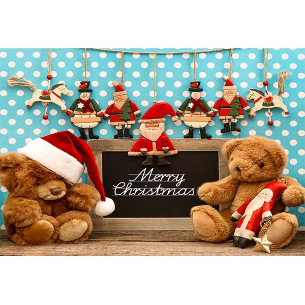 Fox Rolled Christmas Bear Kids Vinyl Photo Backdrops-Foxbackdrop