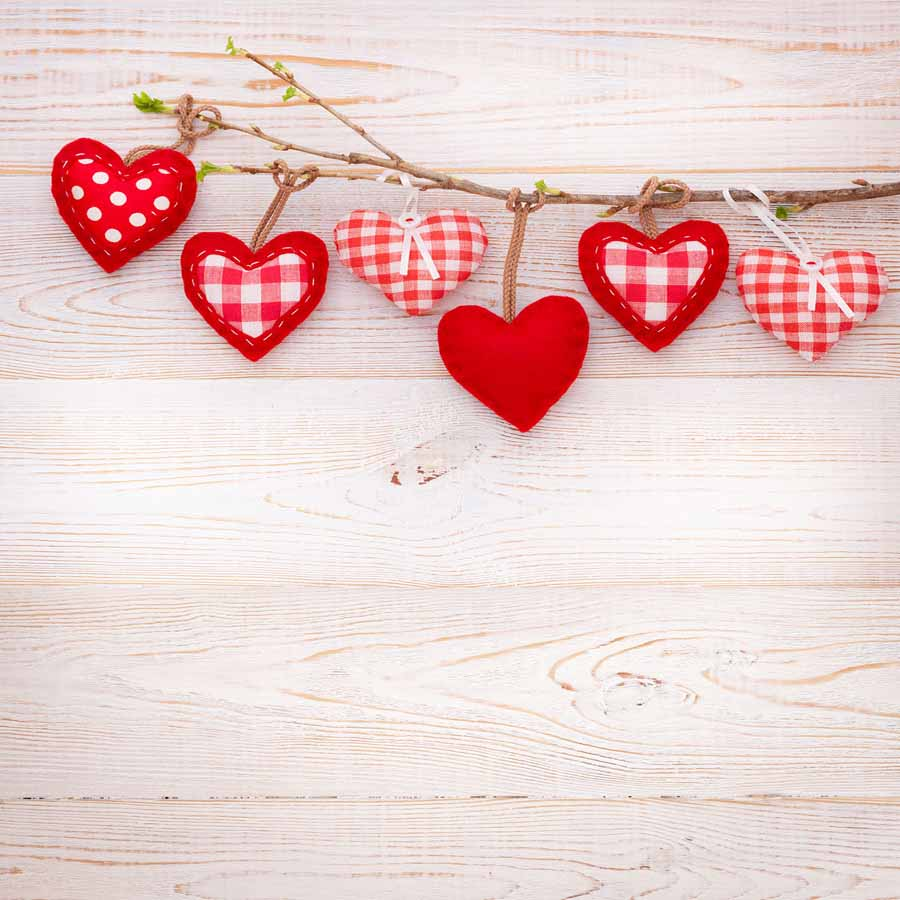 Fox Rolled Vinyl Wood Red Heart Backdrop for Valentine