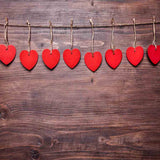 Fox Rolled Vinyl Red Heart Brown Wood Valentine Backdrop
