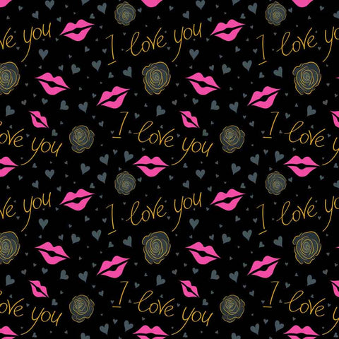Fox Rolled Black I love you Vinyl Valentine Backdrop