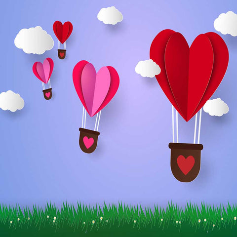 Fox Rolled Red Airballoon Heart Vinyl Valentine Backdrop