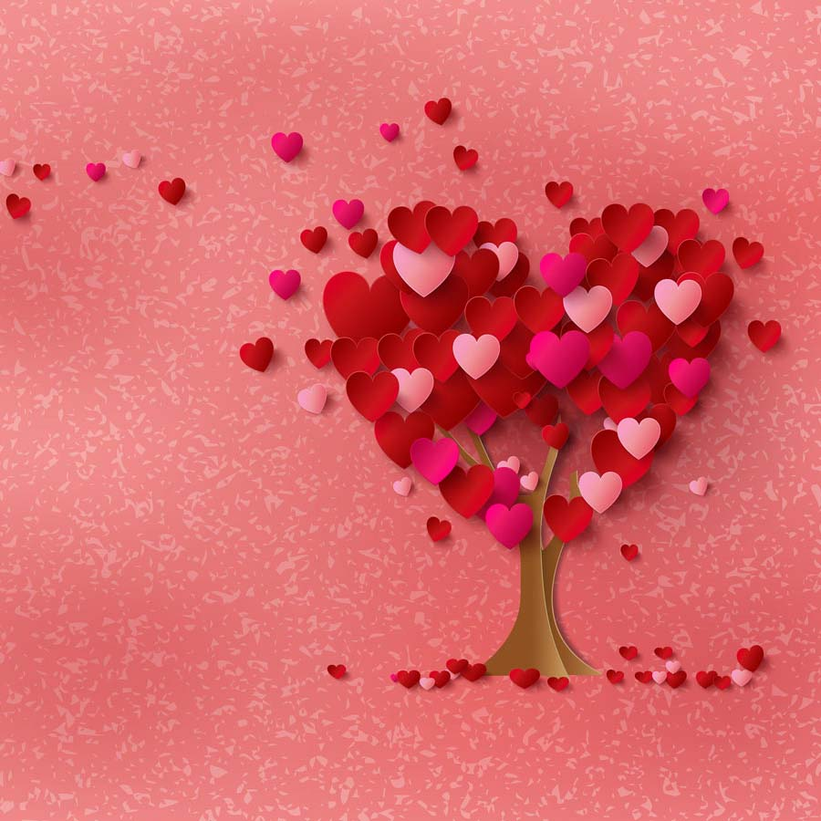 Fox Rolled Pink Tree Vinyl Valentine Day Backdrop-Foxbackdrop