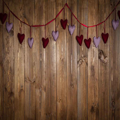 Fox Rolled Brown Wood Vinyl Valentine Backdrop